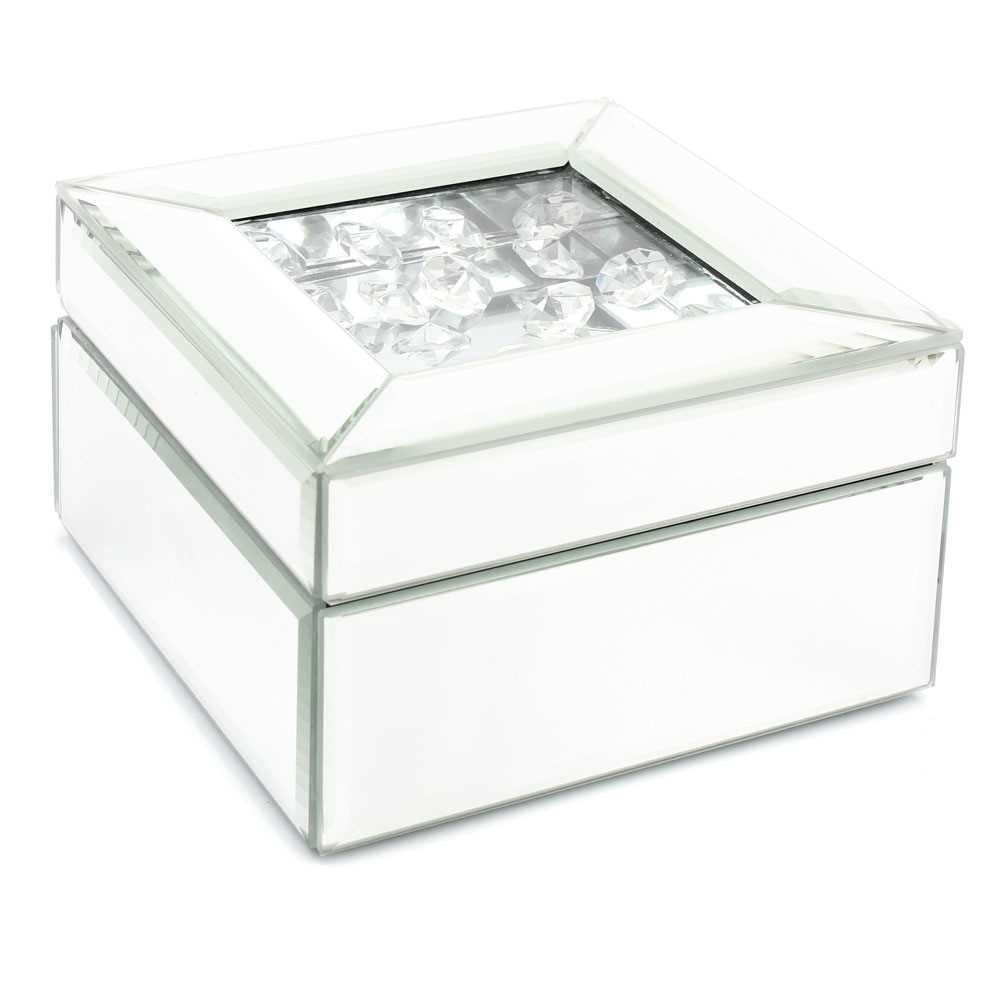 Royal crest small silver mirror jewellery box with for Small silver mirror